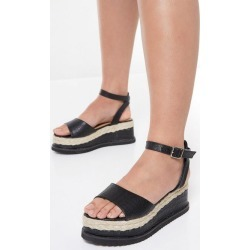 Quiz Black Faux Leather Flatform Sandals found on Bargain Bro UK from Quiz Clothing