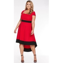 Quiz Curve Red Square Neck Contrast Dip Hem Dress found on Bargain Bro UK from Quiz Clothing