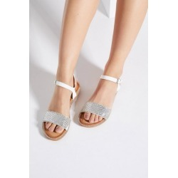 Quiz White Diamante Flat Sandals found on Bargain Bro UK from Quiz Clothing