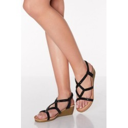 Quiz Black Diamante Strappy Low Wedges found on Bargain Bro UK from Quiz Clothing