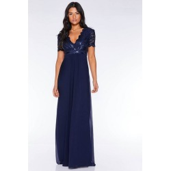 Quiz Navy Sequin Scallop Cap Sleeve Maxi Dress found on Bargain Bro UK from Quiz Clothing