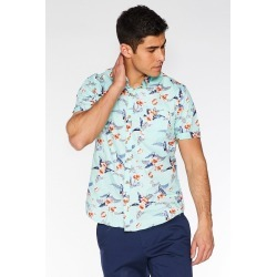 Mint Short Sleeve Tropical Print Shirt