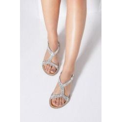 Quiz Silver Diamante Flat Sandals found on Bargain Bro UK from Quiz Clothing