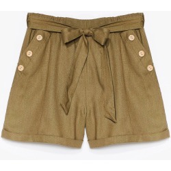 Womens Get Button With It High-Waisted Belted Shorts - Khaki