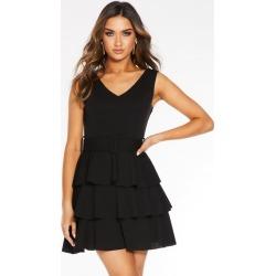 Quiz Black V Neck Frill Belted Dress found on Bargain Bro UK from Quiz Clothing