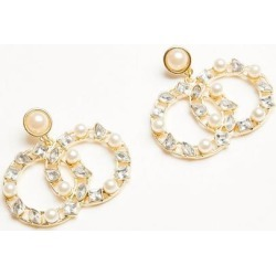 Quiz Gold Double Circle Jewel Earrings found on Bargain Bro UK from Quiz Clothing
