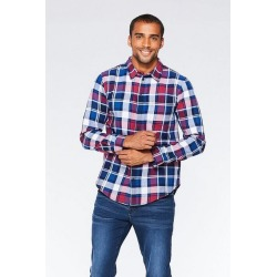 Quiz Red And Navy Long Sleeve Check Shirt found on Bargain Bro UK from Quiz Clothing