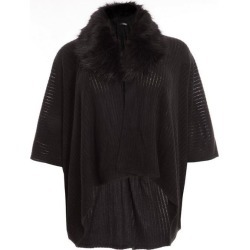 Quiz Curve Black Faux Fur Knit Cape found on Bargain Bro UK from Quiz Clothing
