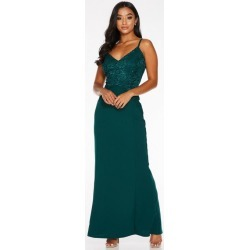 Quiz Petite Bottle Green Sequin Lace Strappy Maxi Dress found on Bargain Bro UK from Quiz Clothing