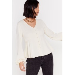 Button a Serious Note Relaxed Button-Down Blouse