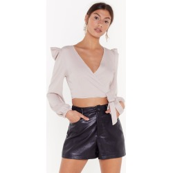 Power Stance Puff Shoulder Wrap Top