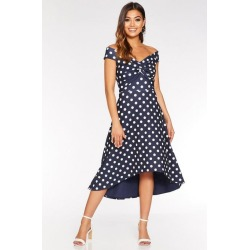Quiz Navy And White Polka Dot Dip Hem Dress found on Bargain Bro UK from Quiz Clothing