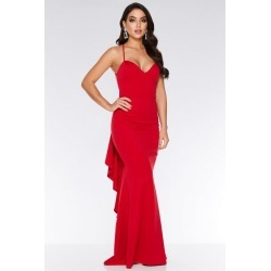 Quiz Red Crossover Backless Ruffle Maxi Dress found on Bargain Bro UK from Quiz Clothing