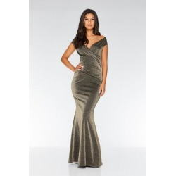 Quiz Gold Glitter Ruched Fishtail Maxi Dress found on Bargain Bro UK from Quiz Clothing