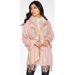 Quiz Pink Faux Fur Trim Knit Cape found on Bargain Bro UK from Quiz Clothing