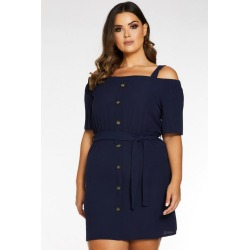 Quiz Curve Navy Cold Shoulder Button Front Tunic Dress found on Bargain Bro UK from Quiz Clothing
