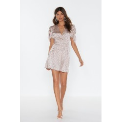 Puff Sleeve Spot Satin Tea Dress found on MODAPINS from nasty gal limited for USD $60.00