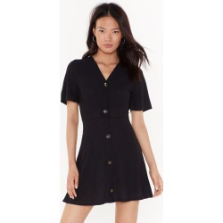 Get Button With It Ribbed Mini Dress