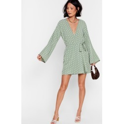 Womens Kimono Here Often Polka Dot Mini Dress - Green found on MODAPINS from nasty gal limited for USD $62.00