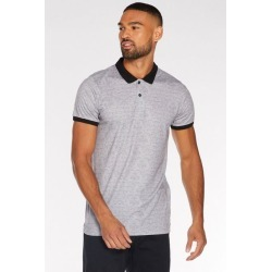 Quiz Spiral Print Polo Shirt with Contrast Collar and Sleeves in Grey found on Bargain Bro UK from Quiz Clothing