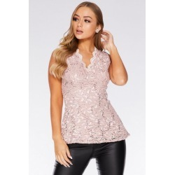 Quiz Blush Pink Sequin Lace Scallop Peplum Top found on Bargain Bro UK from Quiz Clothing