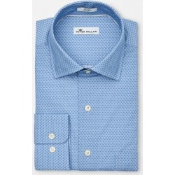 Peter Millar Men's Niblick Woven Long Sleeve Shirt - Blue M found on Bargain Bro India from golftown.com for $126.46