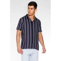 Quiz Navy Striped Revere Collar Shirt found on Bargain Bro UK from Quiz Clothing