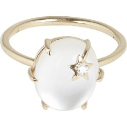 Rose Gold Mini Mother-Of-Pearl And White Quartz Galaxy Star Ring