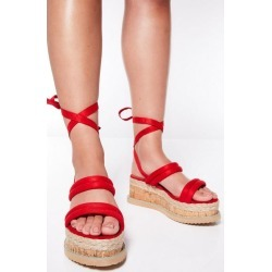 Quiz Red Tie Up Flatforms found on Bargain Bro UK from Quiz Clothing