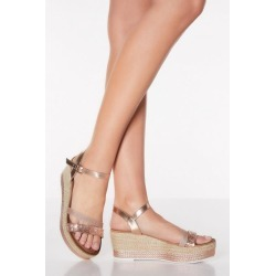 Quiz Rose Gold Diamante Flatform Sandals found on Bargain Bro UK from Quiz Clothing