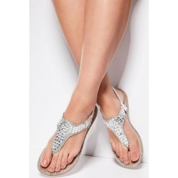 Quiz Silver Jewel Flat Sandals found on Bargain Bro UK from Quiz Clothing