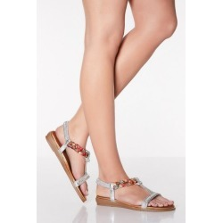 Quiz Comfort Silver Diamante Pleat Sandals found on Bargain Bro UK from Quiz Clothing