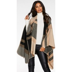Quiz Camel Check Cape found on Bargain Bro UK from Quiz Clothing