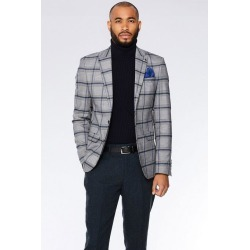 Quiz Grey/Blue Check Blazer found on Bargain Bro UK from Quiz Clothing