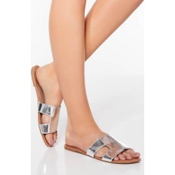 Quiz Silver Flat Sandals found on Bargain Bro UK from Quiz Clothing