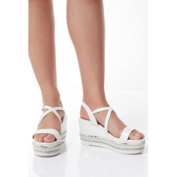 Quiz White Strap Flatform Wedges found on Bargain Bro UK from Quiz Clothing