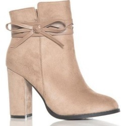 Quiz Taupe Faux Suede Bow Detail Ankle Boots found on Bargain Bro UK from Quiz Clothing