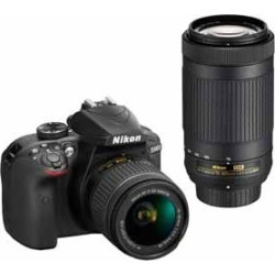 Nikon D3400 Digital SLR Camera with 24.2 Megapixels and 18-55mm and 70-300mm Lenses Included found on Bargain Bro from  for $510