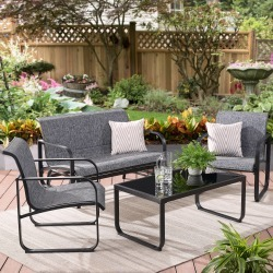 Mainstays Orsley 4-Piece Outdoor Patio Glider Conversation Set with Gray Cushions div class= Mainstays Orsley 4-Piece Outdoor Patio Glider Conversation Set with Gray Cushions found on Bargain Bro from  for $103.91