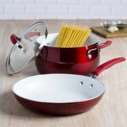 Tasty 3 Piece Cookware Set, Red - Walmart.com found on Bargain Bro from  for $11.98