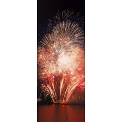 Fireworks display against night sky Canvas Art - Panoramic Images (30 x 12)