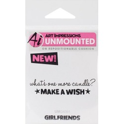 "Art Impressions Girlfriends Cling Rubber Stamp 3.25""X2.75""-Make A Wish"