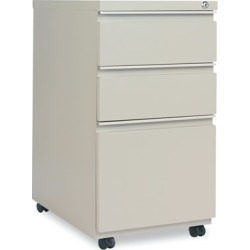 Alera Three-Drawer Metal Pedestal File With Full-Length Pull, 14-7/8w x 23 1/8d, Putty