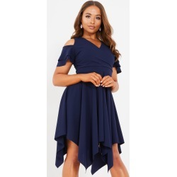Petite Navy Cold Shoulder Dress found on MODAPINS from Quiz Clothing for USD $23.32