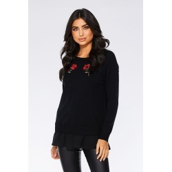 Black And Red Rose Embroidered Knit Jumper found on Bargain Bro UK from Quiz Clothing