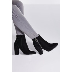Black Diamante Back Block Heel Ankle Boots found on Bargain Bro UK from Quiz Clothing