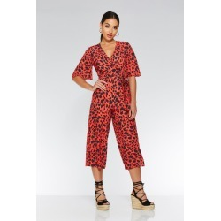 Red And Black Leopard Print Wrap Jumpsuit found on Bargain Bro UK from Quiz Clothing