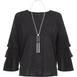 Black Frill Sleeve Necklace Top found on Bargain Bro UK from Quiz Clothing