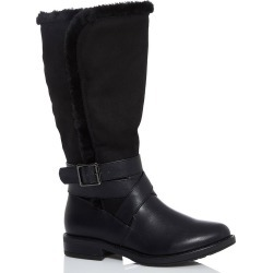 Black Faux Fur Trim Calf Boots found on Bargain Bro UK from Quiz Clothing