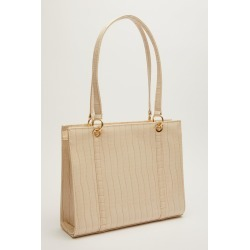 Nude Patent Crocodile Tote Bag found on Bargain Bro UK from Quiz Clothing